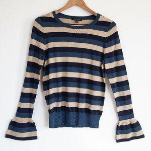Ann Taylor Bell Sleeve Blue Gold Stripe Sweater